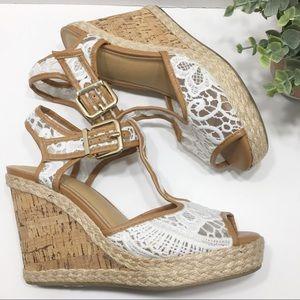 ❤️NWOT Cato Lace Wedge Cork Heel Sandal❤️